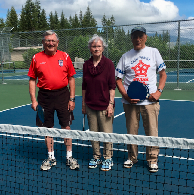 Ralph Owens, Helen & Herb.  25 years ago they brought the game to Salmon Arm AND still playing it today in June 2020